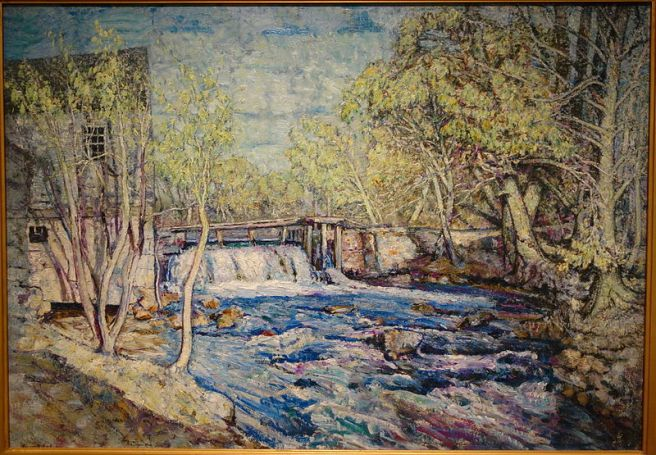 Bradberry's_Mill_Dam_in_Spring_by_Edward_Francis_Rook,_c._1910-1915,_oil_on_canvas_-_New_Britain_Museum_of_American_Art_-_DSC09596